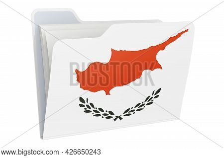 Computer Folder Icon With Cypriot Flag. 3d Rendering Isolated On White Background