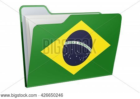 Computer Folder Icon With Brazilian Flag. 3d Rendering Isolated On White Background