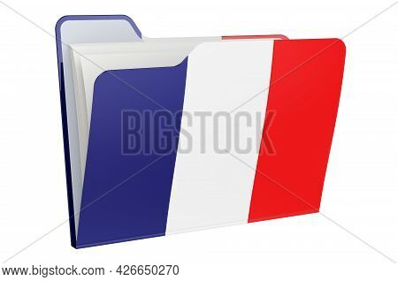Computer Folder Icon With French Flag. 3d Rendering Isolated On White Background
