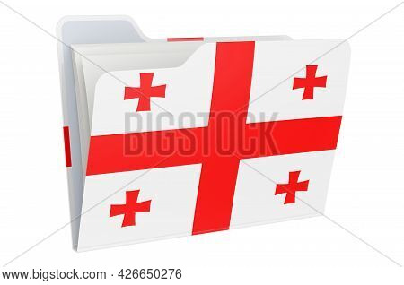 Computer Folder Icon With Georgian Flag. 3d Rendering Isolated On White Background