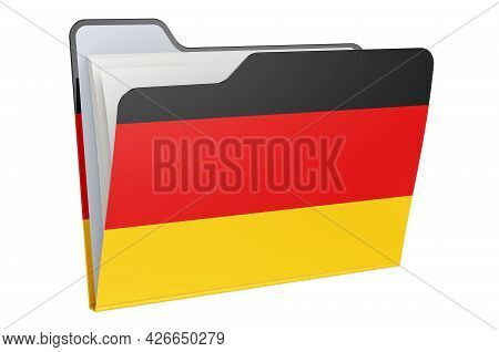 Computer Folder Icon With German Flag. 3d Rendering Isolated On White Background
