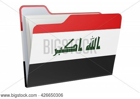 Computer Folder Icon With Iraqi Flag. 3d Rendering Isolated On White Background