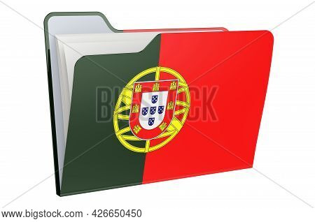 Computer Folder Icon With Portuguese Flag. 3d Rendering Isolated On White Background