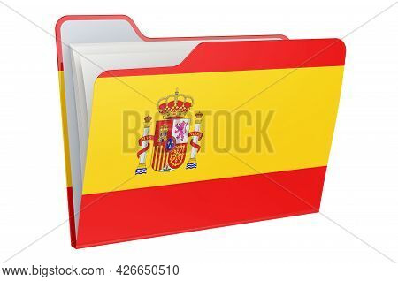 Computer Folder Icon With Spanish Flag. 3d Rendering Isolated On White Background