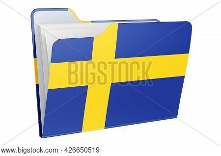 Computer Folder Icon With Swedish Flag. 3d Rendering Isolated On White Background