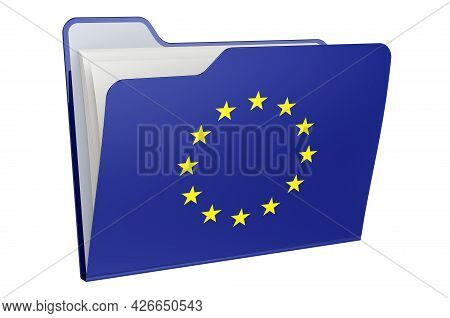Computer Folder Icon With The Eu Flag. 3d Rendering Isolated On White Background