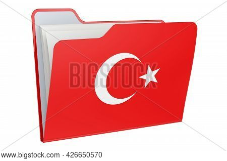 Computer Folder Icon With Turkish Flag. 3d Rendering Isolated On White Background