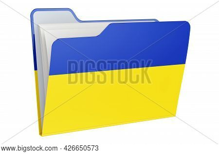 Computer Folder Icon With Ukrainian Flag. 3d Rendering Isolated On White Background