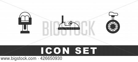 Set Attraction Carousel, Bumper And Unicycle Or One Wheel Bicycle Icon. Vector