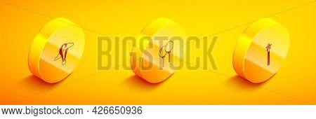 Set Isometric Hot Air Balloon, Balloons With Ribbon And Magic Wand Icon. Vector