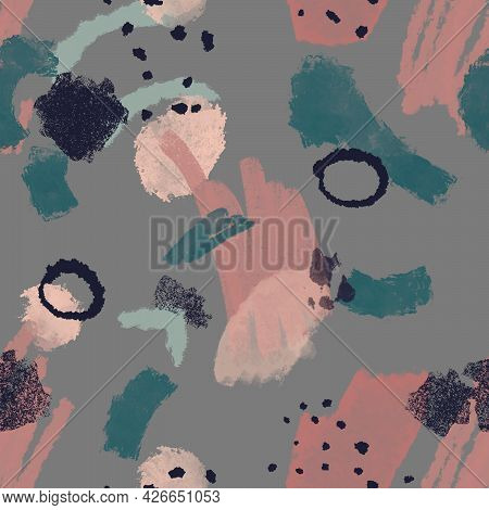 Seamless Pattern Illustration With Watercolor Black, Gray, Blue, Pink And Beige Spots And Blemishes.
