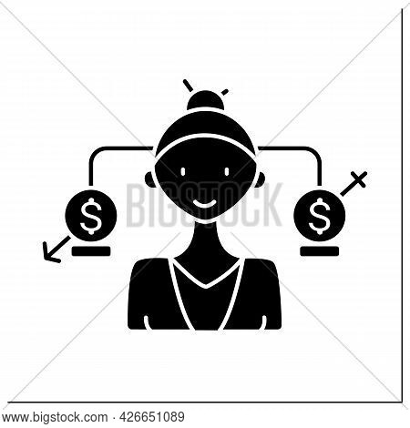 Equal Pay Glyph Icon. Business Gender Equality With Businessman And Businesswoman. Symbol Of Equal P