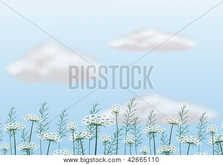Illustration of flowers under the blue sky