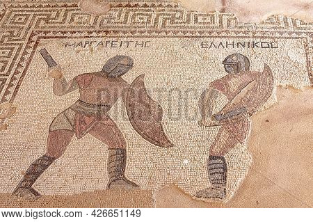 Cyprus, Limassol - 29 June 2021. Floor Mosaic In The House Of Gladiators In The Ancient City Of Kour