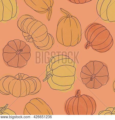 Beautiful Pumpkin Halloween Thanksgiving Seamless Pattern, Cute Cartoon Pumpkins Hand Drawn Backgrou