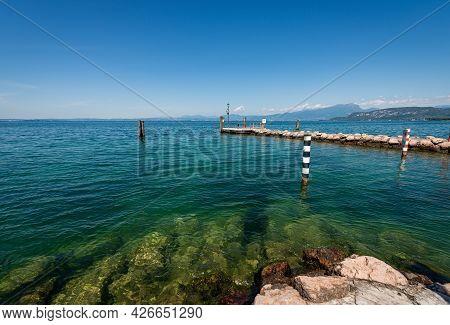Port Of The Small Village Of Cisano, Tourist Resort On The Coast Of Lake Garda (lago Di Garda). Bard