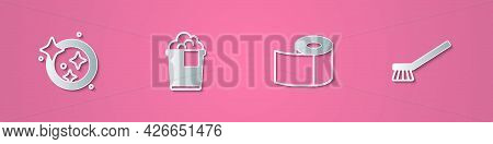 Set Paper Cut Washing Dishes, Bucket With Foam, Toilet Paper Roll And Brush For Cleaning Icon. Paper