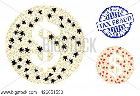 Mesh Polygonal Dollar Coin Symbols Illustration In Infection Style, And Grunge Blue Round Tax Fraud