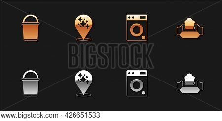 Set Bucket, Home Cleaning Service, Washer And Wet Wipe Pack Icon. Vector