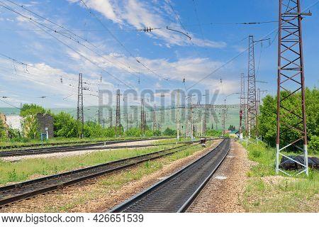 Summer Landscape With Empty Railroad Tracks In Siberia