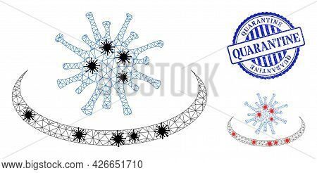 Mesh Polygonal Virus Area Symbols Illustration With Outbreak Style, And Scratched Blue Round Quarant
