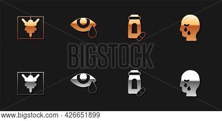 Set Rorschach Test, Tear Cry Eye, Sedative Pills And Man Graves Funeral Sorrow Icon. Vector