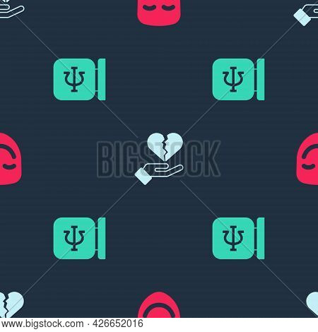 Set Comedy Theatrical Mask, Broken Heart Or Divorce And Psychology, Psi On Seamless Pattern. Vector