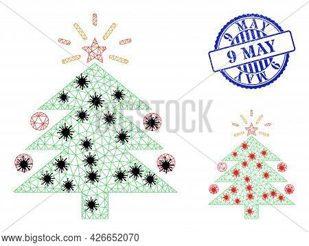 Mesh Polygonal Christmas Fir Tree Symbols Illustration In Outbreak Style, And Scratched Blue Round 9