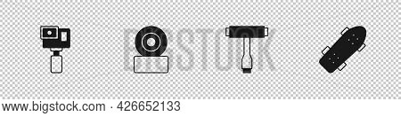 Set Action Camera, Skateboard Wheel, T Tool And Icon. Vector