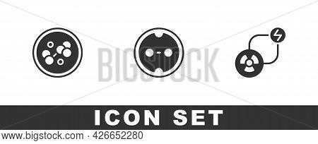 Set Molecule, Electrical Outlet And Radioactive Exchange Energy Icon. Vector