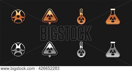 Set Biohazard Symbol, Triangle With Radiation, Meteorology Thermometer And Test Tube Icon. Vector