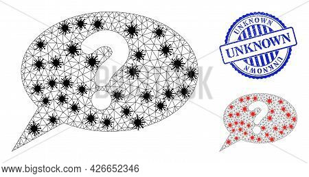 Mesh Polygonal Unknown Message Icons Illustration With Lockdown Style, And Rubber Blue Round Unknown