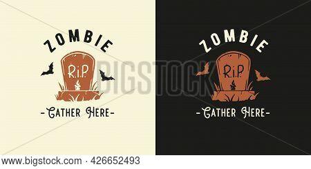 Halloween Headstone Of Zombie For Halloween Print