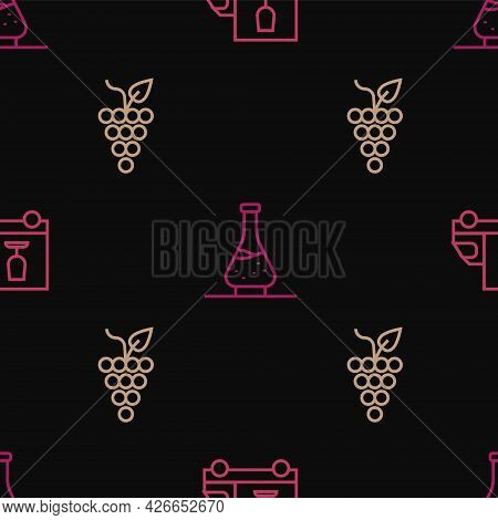 Set Line Wine Truck, Bunch Of Grapes And Decanter For Wine On Seamless Pattern. Vector
