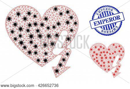 Mesh Polygonal Love Heart Strike Icons Illustration With Outbreak Style, And Distress Blue Round Emp