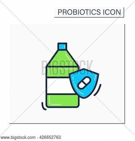 Probiotic Yogurt Color Icon. Bifidobacterium Drink For Healthy Human Flora. Lactobacillus For Digest