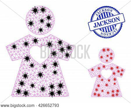 Mesh Polygonal Girlfriend Icons Illustration In Infection Style, And Grunge Blue Round Jackson Stamp