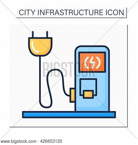 Charging Station Color Icon. Electrical Vehicles Recharging Point. Electricity Pump With Plug And Co
