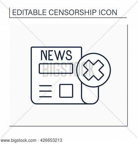 News Blackout Line Icon. Disabling Mass Media. Blocking Media Due To Dissemination Of False Informat