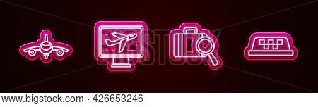 Set Line Plane, , Lost Baggage And Taxi Car Roof. Glowing Neon Icon. Vector