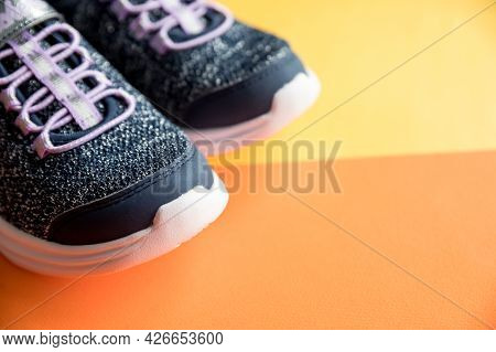 Pair Of New Shoes Isolated On Bright Background.new Unbranded Blue Sport Running Shoes Or Sneakers.s