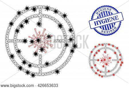 Mesh Polygonal Target Virus Symbols Illustration With Infection Style, And Textured Blue Round Hygie