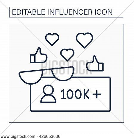 Followers Line Icon. Macro Influencer. Blogger With One Hundred Thousand Plus Subscribers. High Infl
