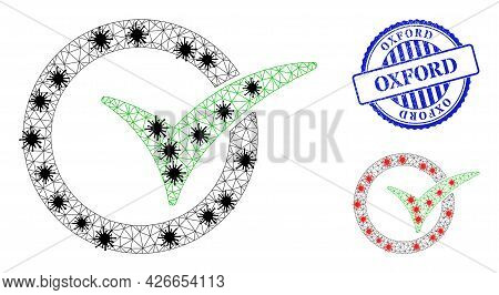 Mesh Polygonal Yes Vote Icons Illustration Designed Using Lockdown Style, And Scratched Blue Round O