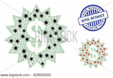 Mesh Polygonal Dollar Rosette Icons Illustration With Infection Style, And Scratched Blue Round Risk