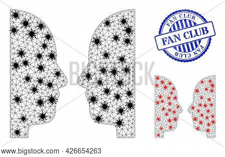 Mesh Polygonal Dual Face Symbols Illustration With Lockdown Style, And Textured Blue Round Fan Club