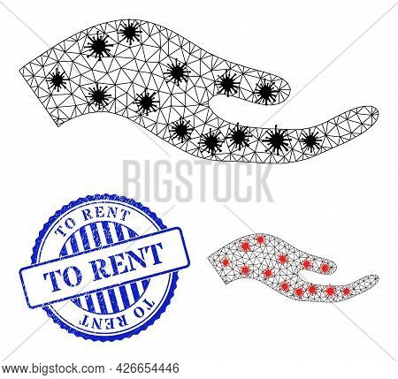 Mesh Polygonal Petition Hand Symbols Illustration With Outbreak Style, And Grunge Blue Round To Rent