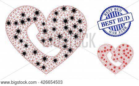 Mesh Polygonal Phone Heart Icons Illustration Designed Using Lockdown Style, And Grunge Blue Round B