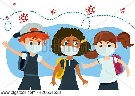 Schoolchildren And Schoolgirls In Medical Masks. A School Theme During The Epidemic. Vector Illustra