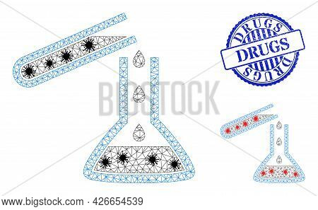 Mesh Polygonal Chemical Liquid Glasses Icons Illustration In Lockdown Style, And Textured Blue Round